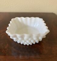 "Vintage Fenton White Milk Glass Translucent Hobnail Square Dish Scallop 4"" W"