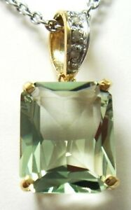 SYJEWELLERY 9CT SOLID YELLOW GOLD 6CT GREEN AMETHYST & DIAMOND PENDANT  P841