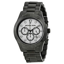 Michael Kors Layton Chronograph White Dial Black Ion-plated Mens Watch MK6083-AU