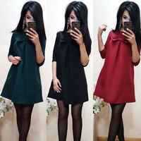 Chiffon Plus Size&A-line One-piece Dress Women Fashion Bowknot Short Mini Dress