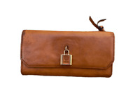 VINCE CAMUTO Women's Designer Genuine Leather Brown Trifold Clutch Wallet