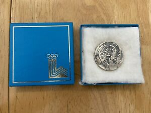 """1980 Lake Placid Olympic Silver Medallion """"Coin"""" of Participation Medal with Box"""