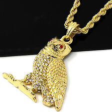"Mens Gold Iced Out Cz Hip Hop Owl Rap Pendant 24"" Rope Chain Necklace D507"