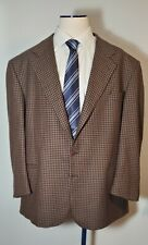 Garlando Made in Italy Wool Cashmere Blend Blazer Brown Checked Blazer 56R
