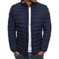 US Men Coat Lightweight Jacket Slim Fit Puffer Hooded Zipper Insulated Jacket,