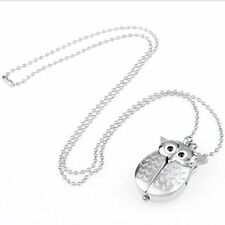 quartz watch necklace pendant silver plated owl LW