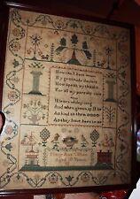 late 1700's sampler likely Massachusetts ships lighthouse Mary Ann Clifton