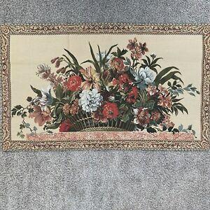 Vintage French Tapestry Tapisseries Du Lion France Wall Hanging Flowers Basket