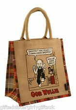 The Broons - Oor Wullie  jute hessian shopping bag Scottish Scotland Medium Tote