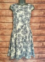 FIT & FLARE Dress WHITE/BLUE Foral MELA LOVES LONDON Size 12 VGC Women's