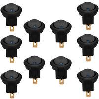 10 X Car 12V Round Rocker Dot Boat Blue LED Light Toggle Switch ON/OFF Sales