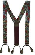 Trafalgar silk suspenders red green blue floral Hawaiian leather braces