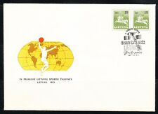 Lithuania 1991 cover Basketball & Basketball cancel,postmark on imperf pair.