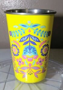 TRUE BRANDS BLUSH STAINLESS STEEL YELLOW FLORAL TUMBLER/CUP