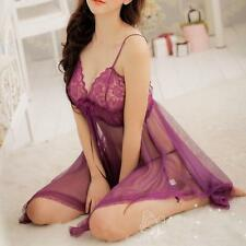 Sexy Lady Lingerie Lace Dress Babydoll Night Sleep Underwear G-String Purple FZ
