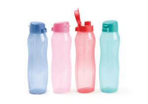 NEW Tupperware Set or 4 Round Gen II 1L Eco Water Drink Bottles with Flip Top
