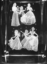 3D THE 1ST SIX DISNEY PRINCESSES 2 3 In. GLASS PAPERWEIGHT Laser Etched Crystal