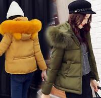 Winter Womens short Down Cotton Warm Jacket Slim Fur Collar Hood coat outwear