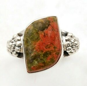 Natural Unakite 925 Genuine Sterling Silver Ring Jewelry Sz 9 ED27-9