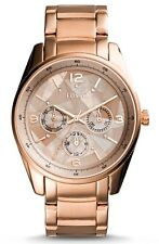 NEW! Fossil BQ3100 Justine Rose Gold Tone Chrono Mother of Pearl Womens Watch