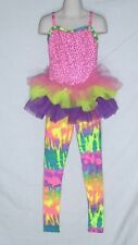 WEISSMAN HIP HOP DANCE COSTUME – TIE-DYE - CHILDS SIZE 1C (GIRL'S 7/8) – NEW EXC