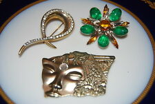 Or Brooches As Per Pictures # M-013 Wonderful Vintage Set Of Three Assorted Pins