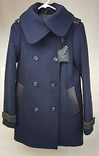Mackage Blue Coat Double Breasted Wool Leather Trim Peacoat Size XS Extra Small