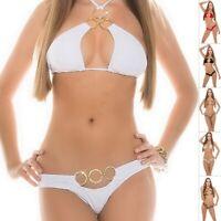 KouCla OOHLALA Women's O-Ring Top & Bottom Swimwear Swimsuit Bikini Set - S/M/L