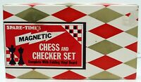 Vintage CHESS & CHECKERS SET Magnetic Set Family Board Game Mind Travel Japan
