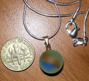 "Sea Glass 1/2"" Marble Handmade Pendant Sterling Silver Cap 0001"