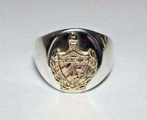Brand New Sterling Silver & 14 Karat Yellow Gold Cuba Coat of Arms Signet Ring