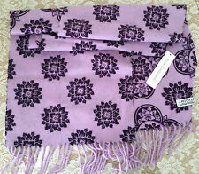 NWT Amicale 100% cashmere scarf women purple floral flower 2-side patterns