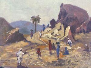 BARBARA DOYLE (B.1917) MODERN BRITISH OIL PAINTING - EASTERN QUARRY SCENE