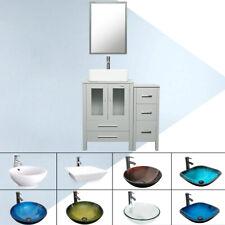 "36"" Gray Bathroom Vanity Vessel Sink Set W/Mirror Small Cabinet Faucet Combo"