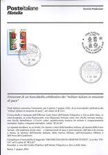 ITALIA 2002 MILITARI IN MISSIONE DI PACE  BOLLETTINO COMPLETO DI FRANCOBOLLI FDC