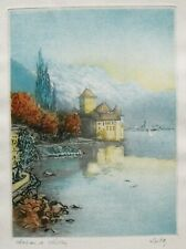Vtg. Original French Color Etching by Ludo -- Chateau de Chillon, Switzerland