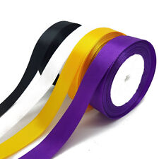 25 Yard x 4 Satin Ribbon Halloween Black Orange Purple Craft Gift Wrapping 20mm