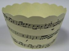 CUPCAKE WRAPPERS - Musical Notes x 12 cup cake wraps ~ Cream & Black NEW DESIGN