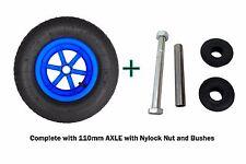 "BLUE SPOKED + AXLE 4 PLY 16"" Pneumatic Wheelbarrow Wheel 4.80 - 8 BENT VALVE"