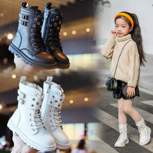 Kids Leather Boots Fashion Long Winter Snow Boots Girls Sport Shoes Sneakers UK