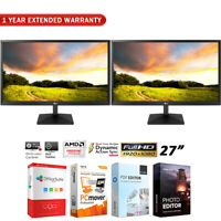 """LG Dual 27""""IPS LED Monitor 1920 x 1080 16:9 27MK400HB + Extended Warranty Pack"""