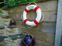 Large Titanic Ship Lifebuoy Red & White Boat maritime Bathroom Life Ring Buoy