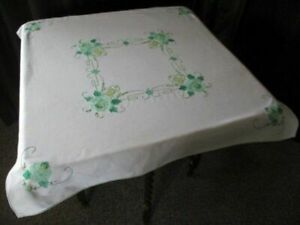"""Pretty Tablecloth-Applique green flowers and hand embroidery - 34""""sq."""