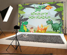 Cartoon Dinosaur Paradise Photography Background 7x5ft Happy Birthday Backdrops