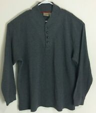 LL Bean Henley Classic Cotton Sweater Mens XL Buttons Long Sleeve Gray Casual