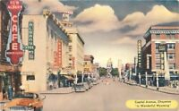 Autos Capitol Avenue Cheyenne Wyoming 1956 Postcard Kropp 12215