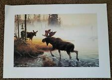 Michael Dumas 1980s Deer Cow Bull Moose Nature River Painted Art Print Poster Vg