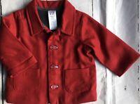 Gap Jacket Size 3 6 Months Baby Boys Red Wool Pea Coat Style Fleece Lined Gapkid