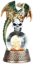 CRONIES  Green Dragon on Snow Globe - Skull  Statue figurine  H7.88""