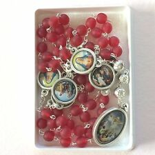Seven Sorrows Chaplet Rosary Red Glass beads  Resin/Silver tone Medals Italy